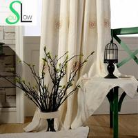 Slow Soul Fine Together Embroidered Linen Curtains Curtain Khaki Light Blue For Bedroom Kitchen Living Room