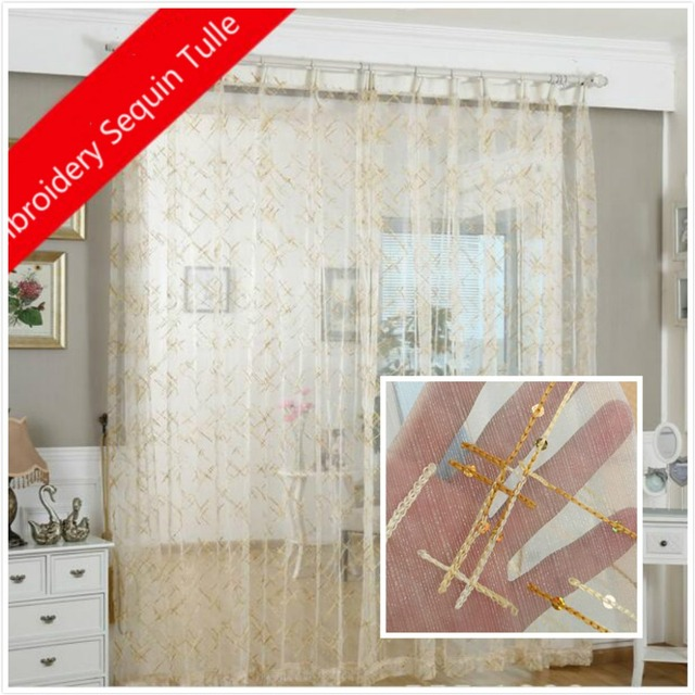 Beige bande embroideried or paillettes tulle rideau voilage voile ...