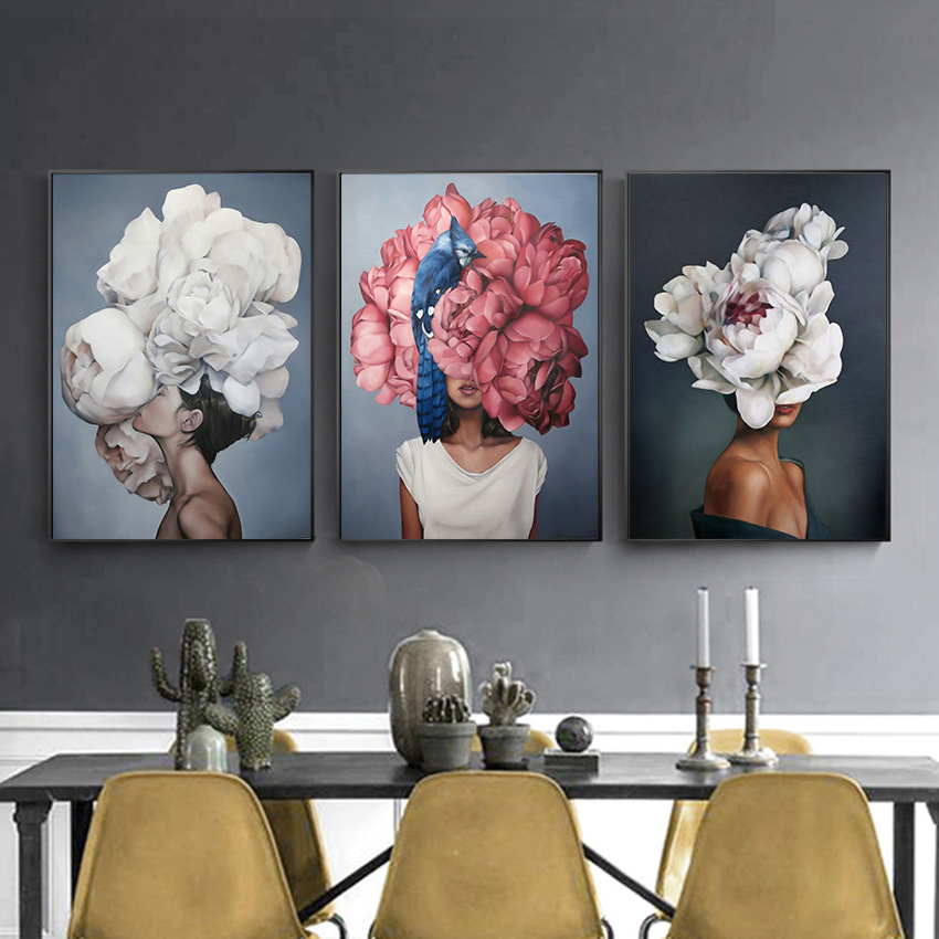 Modern Figure Lady Head Flower Picture Home Decor Nordic Canvas Painting Wall Art Posters and Prints Decor for Bedroom Dorm Room 3