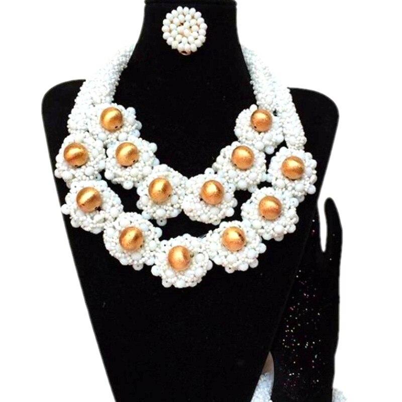 4 ubijoux Dubai collier ras du cou de mariage avec des boules d'or africain nigérian bijoux perles ensemble fait main dames bijoux ensemble 2018