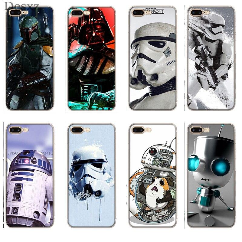 Casos Capa para iPhone 5 5S SE 6 7 8 plus X XS XR 6 s Max Star Wars R2D2 boba fett darth vader Stormtrooper