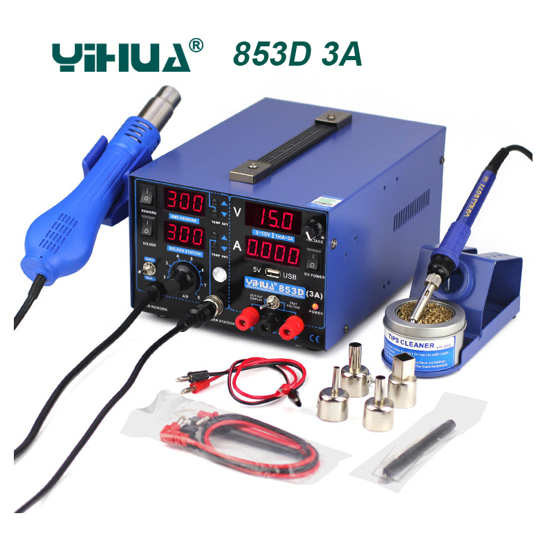 YIHUA 853D 1A SMD DC Power Supply Hot Air Gun Soldering Iron Rework Solder Station Intelligent temperature control 853D 5A 853D
