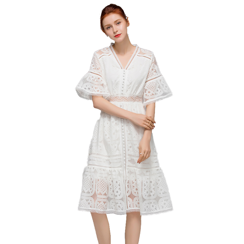 New arrival 2019 Elegant White Short Sleeve Lace Hollow Out Dress 190623mld01