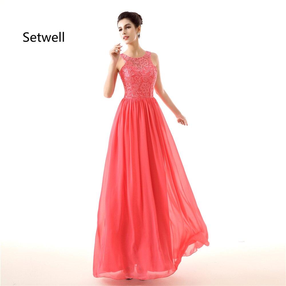 Setwell Simple robes de demoiselle d'honneur Illusion décolleté dentelle robe de demoiselle d'honneur d'été en mousseline de soie Simple robes de demoiselle d'honneur sur mesure