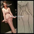Arabic Singer Myriam Fares Red Carpet Dresses 2017 Mermaid V-neck Long Sleeves Pink Lace Long Famous Imitation Celebrity Dresses