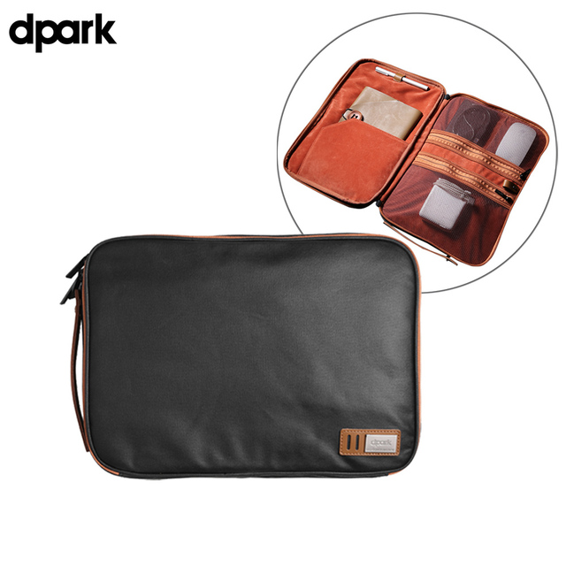 Dpark Waterproof Canvas Organizer Laptop Sleeve Case Bag with Handle and Pockets for MacBook Air/Pro Retina 13 Inch/ASUS Zenbook