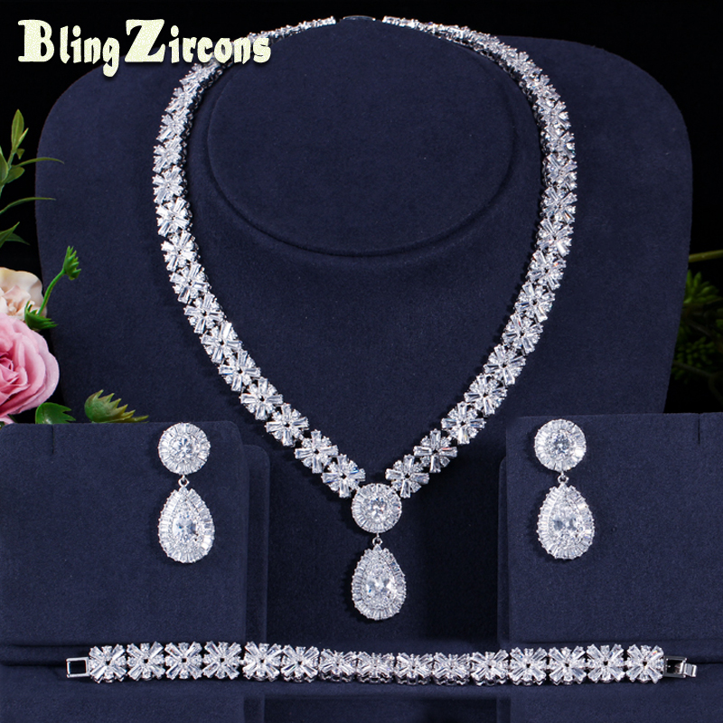 BeaQueen brillant cubique Zircon grande goutte boucles d'oreilles collier Bracelet bijoux ensembles Dubai robe de mariée accessoires JS161