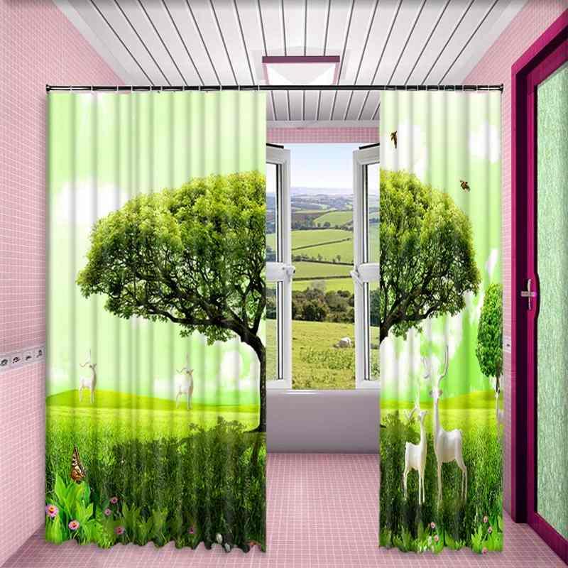 1 Set Blackout Vorhang Grün Baum Deer Bild 3D Druck Fenster Vorhänge Vorhänge Für Wohnzimmer Bett Zimmer Hotel Wandteppich - 4