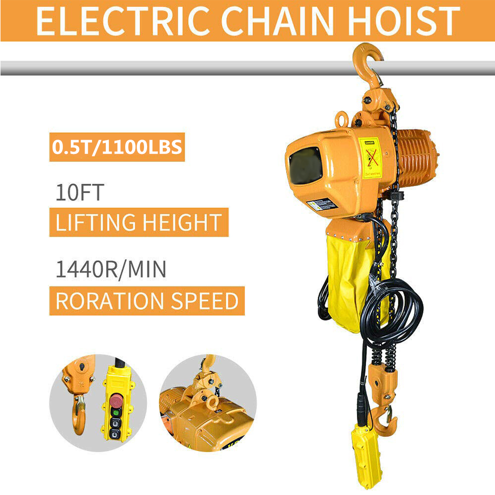 0.5T 500kg 1100Lbs Electric Hoist Crane Lift Overhead Garage Winch Chain Hoist For Factories/Warehouses/Buildings Cargo Lifting