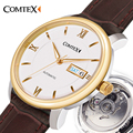 Comtex Mens Automatic Mechanical Watch 50M Waterproof rose Gold Dial Leather Strap Sapphire Crystal Round clock watches men auto