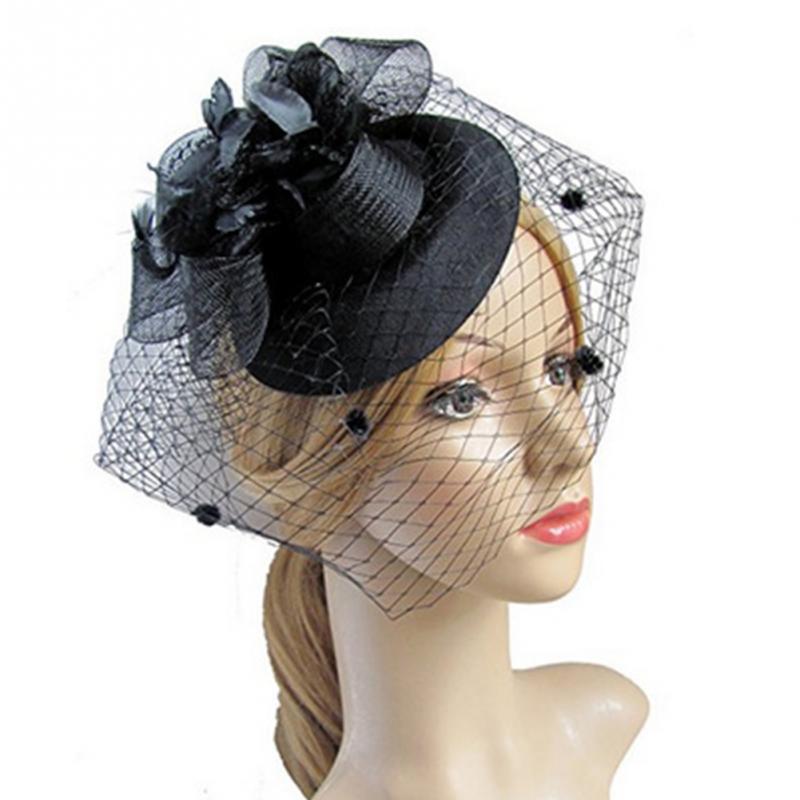 Fascinator Hat Hair Clip Winter Embroidered Veil Women Cocktail Wedding Party Bridal Hat Fascinator Ladies Dress Hair   Headwear