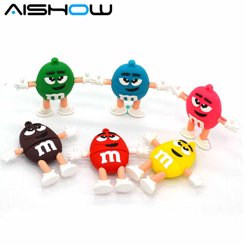 Rainbow bean suiker usb flash drives 128 MB 1 gb 4 GB 8 GB 16 GB USB 2.0 Flash Memory Stick Drive Thum/Auto/Pen M & M U Disk Festival