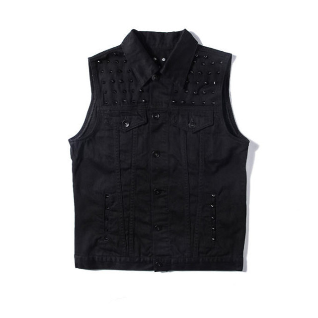 Kanye West Denim Jacket Sleeveless Mens Fashion Black Punk Rock Motorcycle Yeezy Denim Vest Rivets Waistcoats A1650