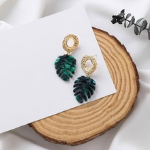 Simple Green Leaf Earrings For Women 2019 New Plants Elements Drop Trendy Jewelry