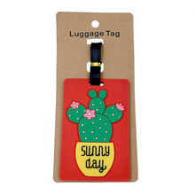 Portable Plant Cactus Luggage Tags Silica Gel Suitcase Cartoon Holder Baggage Boarding Addres Credt Cute Travel Accessories