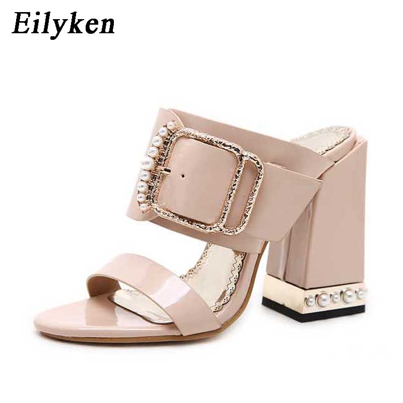Eilyken Fashion Summer Women Slippers Sexy Crystal Buckle Square heel Women Slippers Sandals size 34 40 Apricot Black