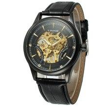 Fashion Black Golden Star Luxury Design Clock Mens Watch Top Brand Mechanical Skeleton Steampunk Watch Male Wrist Watch Gift