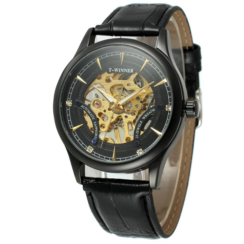 Prix pour Mode Noir Golden Star Conception De Luxe Horloge Hommes Montre Top Marque Mécanique Squelette Steampunk Montre Mâle Montre-Bracelet Cadeau