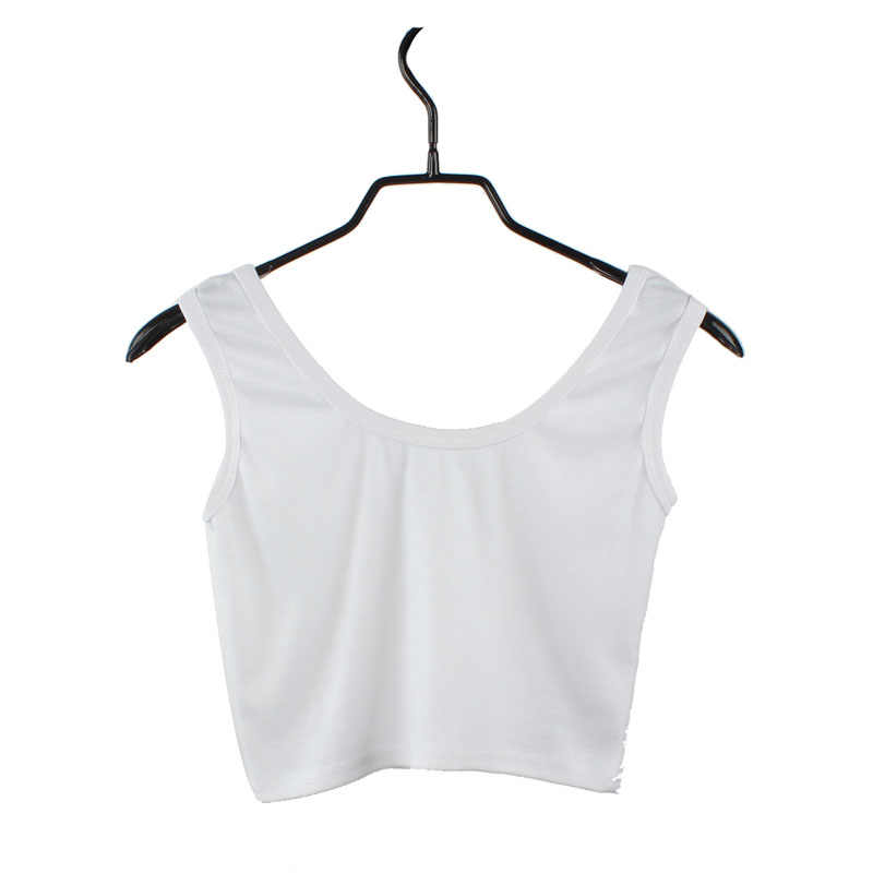 Women's Tight-Fitting Round Neck Sexy Camisole Short Solid Color Close-Up Vest Cotton Fitness Vest #YL5