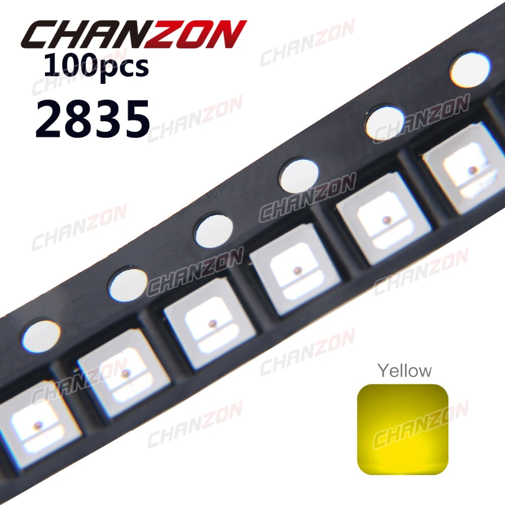 100pcs <font><b>SMD</b></font> <font><b>2835</b></font> <font><b>LED</b></font> Chip Yellow Surface Mount SMT Bead 30mA DC 2V High Brightness 590nm <font><b>LED</b></font> Light Emitting Diode Lamp for PCB image