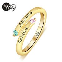 UNY Mother S Personalized Special Anniversary Gift Birthstone Ring 925 Sterling Silver 18K Gold Plated Customized