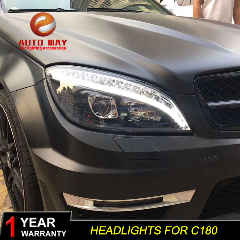 Car Styling Head Lamp Case For Benz W204 C180 2007-2011 Headlights LED Headlight W204 C180 Headlights DRL Bi-Xenon HID