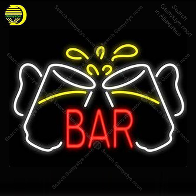 Beer Bar cups Neon Signs Real Glass Tube Handcraft neon lights Sign Recreation Room Home Wall Windows Iconic Sign Neon Light Art