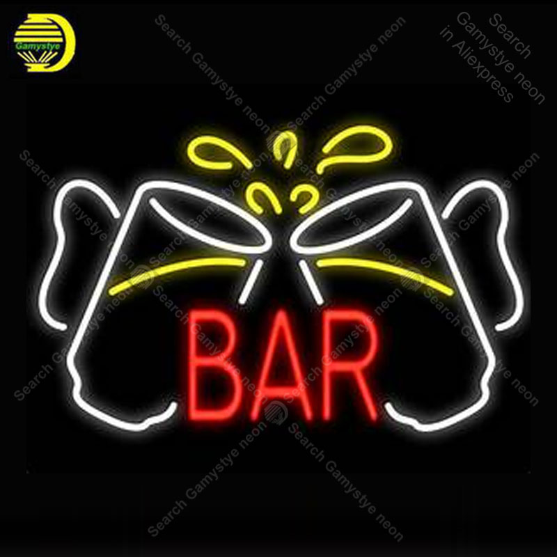 Beer Bar cups Neon Signs Real Glass Tube Handcraft neon lights Sign Recreation Room Home Wall Windows Iconic Sign Neon Light Art|Neon Bulbs & Tubes|   - title=