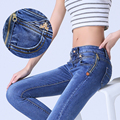 Women Denim Jeans Korean Style Skinny Zipper High Waist Pencil Pants Women Slim Sexy Denim Jeans Trousers 26-31