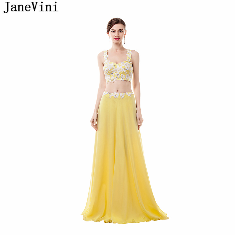 JaneVini Sexy Two Pieces Bridesmaid Dresses Crop Top 2018 Sweetheart Lace Applique Beaded A Line Chiffon Prom Gowns Floor Length