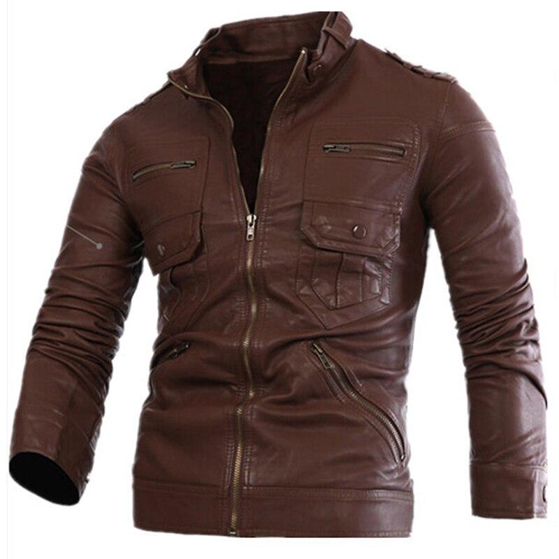 2018 nouveau Style russe hommes Zipper veste en cuir et manteaux Slim Fit homme moto Avirex vestes en cuir hommes vêtements S2156 - 6