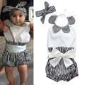 3 PCS Baby Girl sets Bodysuit Tops+Striped Shorts Outfits Set+Handware Summer Kids Clothes 0-24M #2358
