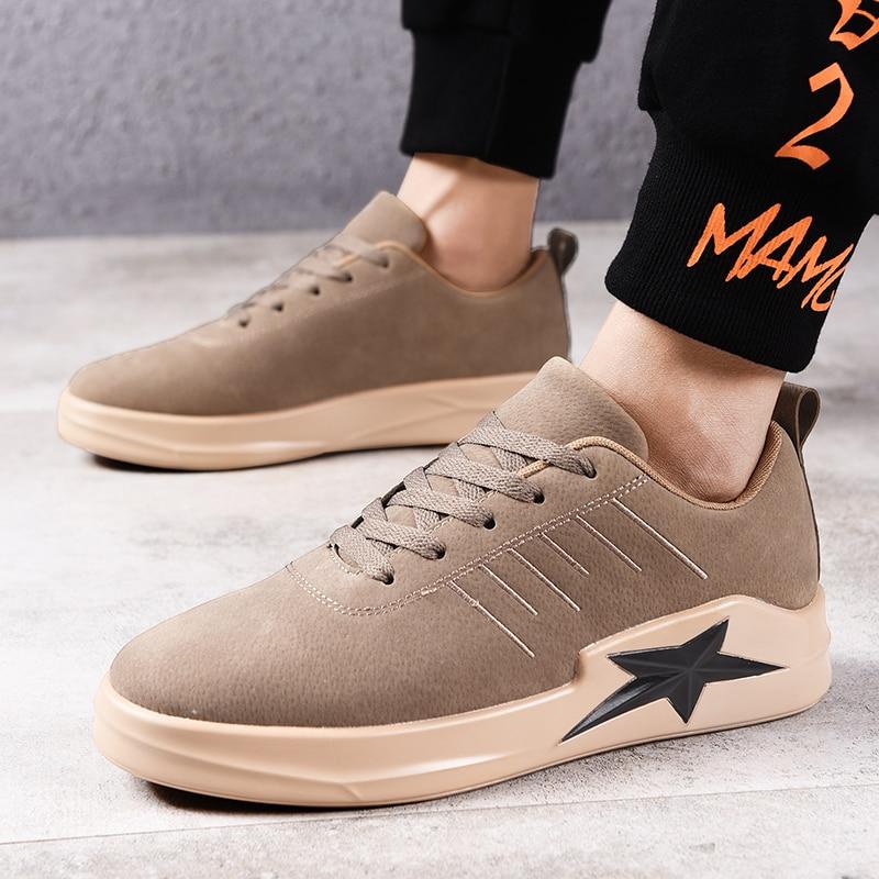 Fundo Up Livre De Zapatos Grossos Dos Casuais Hombre Black Pé Ae423 Couro Homens Do Ar Lace Dedo Ao Redondo Sapatilhas grey khaki Sapatos AnxaqA