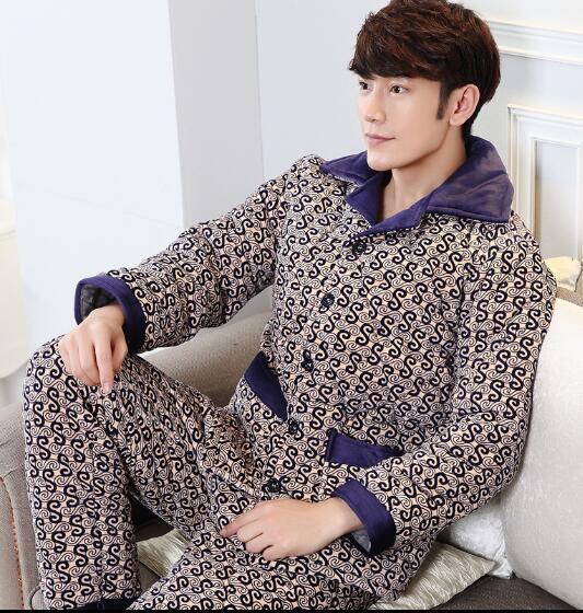 Pijamas de los hombres de Los Hombres de invierno ropa de dormir ropa de Hogar para los hombres de terciopelo de Coral hombres de servicio en casa