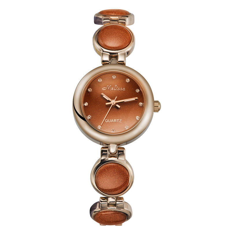 Real Goldstone Luxury Melissa Lady Women's Watch Japan Quartz Elegant Cute Fashion Hours Clock Girl's Birthday Gift Box
