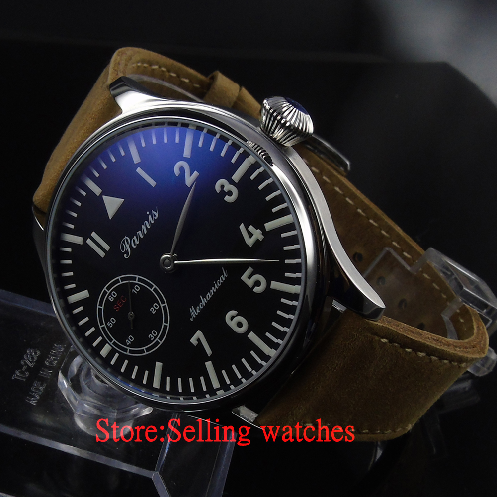 Parnis 44mm  black Mechanical hand winding 6497 Men's Watch 44mm black sterile dial green marks relojes 6497 mens mechanical hand winding watch luminous armbanduhr cm164bk