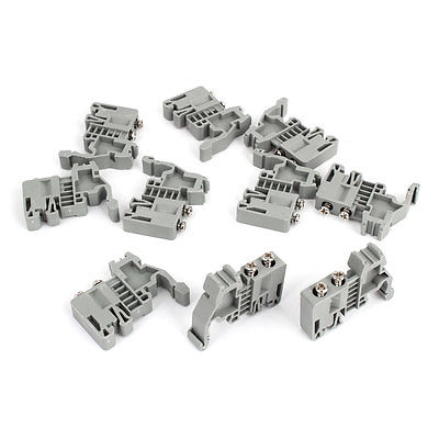 10 Pcs 35mm Din Rail Screw Fixed Terminal Block End Stopper Clamps Gray high quality sony fk 517 automatic screw feeder rail fixed fk517 screw supplier for m1 7 screw hotsales