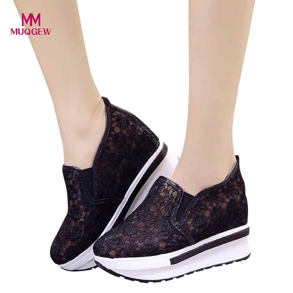 Women's Shoes Boots Increased Net Shoe Women Casual Shoes Breathable Mesh Slope Thick Platform Shoes Slip-On Boots zapatos mujer