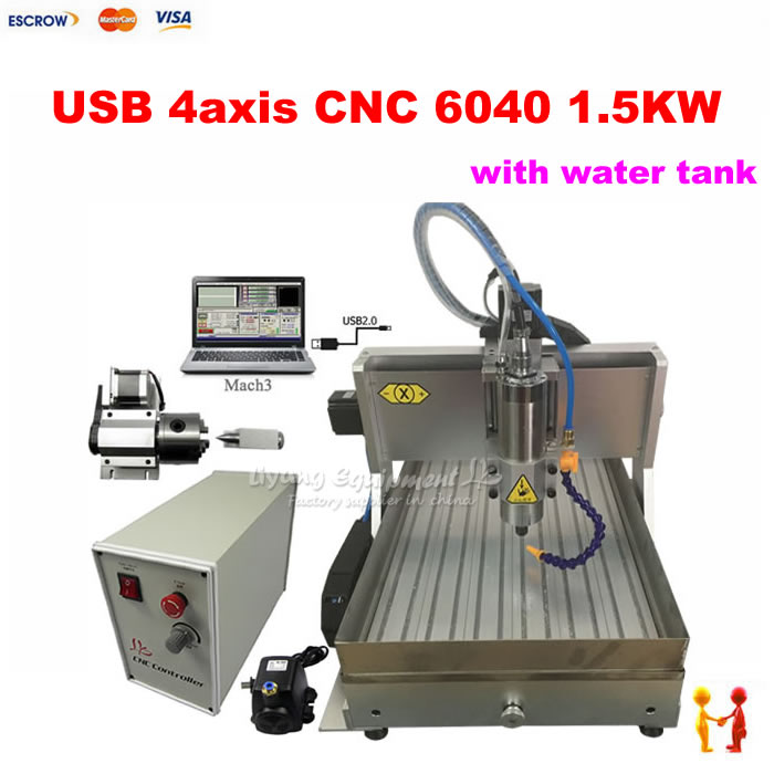 1500W USB port mini metal cnc milling machine 6040 router with WATER SINK for stone marble wood cutting russain no tax usb port 6040 cnc lathe machine 3 axis router wood cnc milling machine cutting 1 5kw