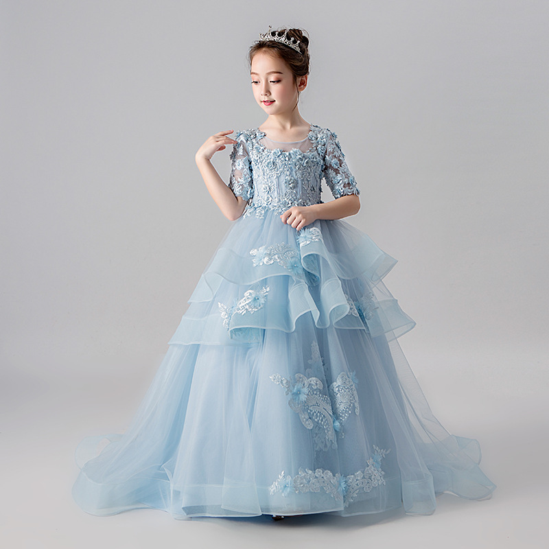 High end 2019 Long   Flower     Girls     Dresses   For Wedding Party Vintage Half sleeve Court Train Beaded Appliques First Communion   dress