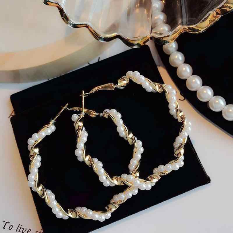 Korean Version Of The Cold Wind Fairy Temperament Pearl Circle Exaggerated Personality Wild Big Circle Earrings Wedding Earrings