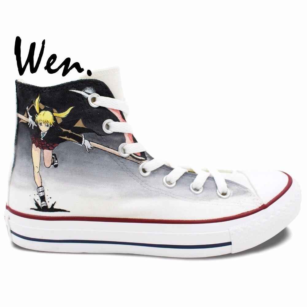 58edcfcd7afed Wen Anime Ręcznie Malowane Buty Projekt Custom Soul Eater MAKA ALBARN  Śmierć Kid Wysoka Góra Mężczyźni kobiet Płótnie buty