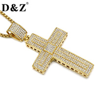 D Z Hiphop Ice Out Paving CZ Men Cross Necklace Double Layerer Cross Stainless Steel Christian