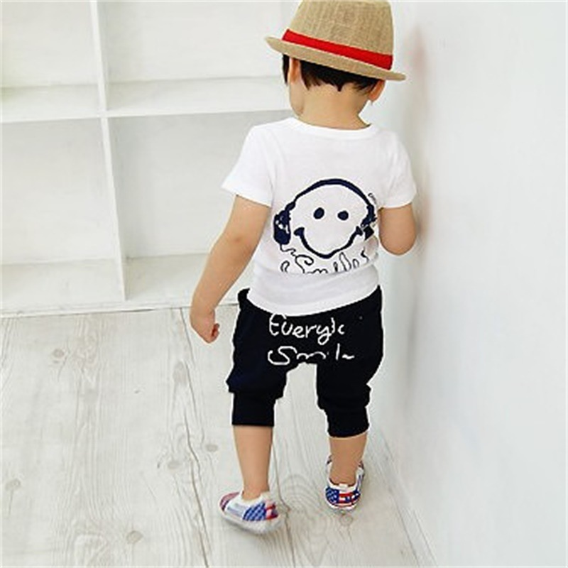 Headphone Boys Sport Suits Smile Face Children Clothes Set Summer Short-Sleeved T-Shirts Kids Harem Pant Baby Boy Clothing Sets kids clothes boys clothing sets summer sport suit children short sleeve camouflage pant suits 1 4t toddler tracksuits 2017