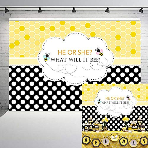 Neoback Bee Gender Reveal Party Backdrop Bumble Bee He or She Baby Shower Photography Background in Background from Consumer Electronics