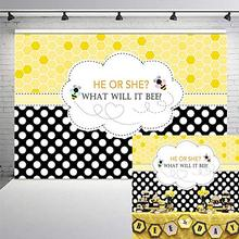 Neoback Bee Gender Reveal Party Backdrop Bumble He or She Baby Shower Photography Background