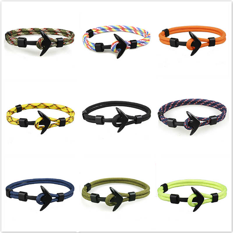 new Fashion Men Survival Rope Charm Bracelets