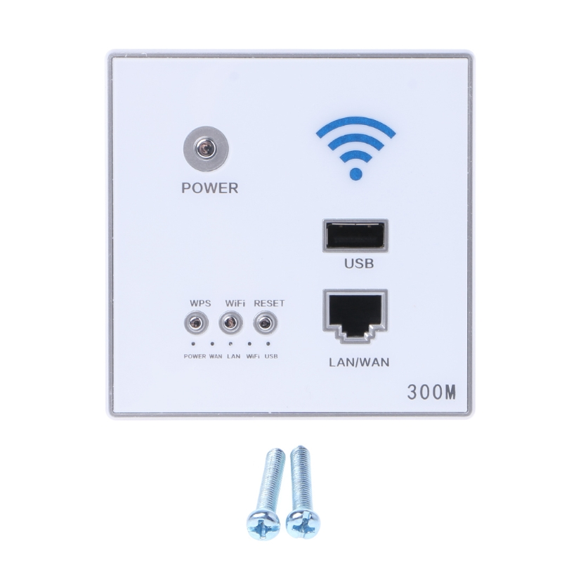 Newest 300Mbps Wireless AP Router Wall Embedded WiFi Repeater w./ LAN Switch/USB Charger Drop Ship ap router 150 mbps indoor wall embedded wireless wifi router repeater 3g 5v 2a usb charger socket panel with switch lan rj11 usb