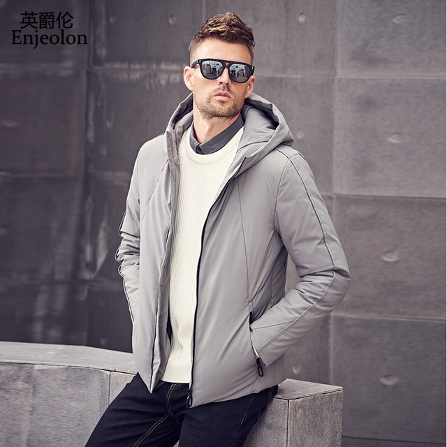 Enjeolon Brand Thicken Winter Down Jacket Men Light Down Coat For Men Parka Coat 3XL Down Parka Male YR919