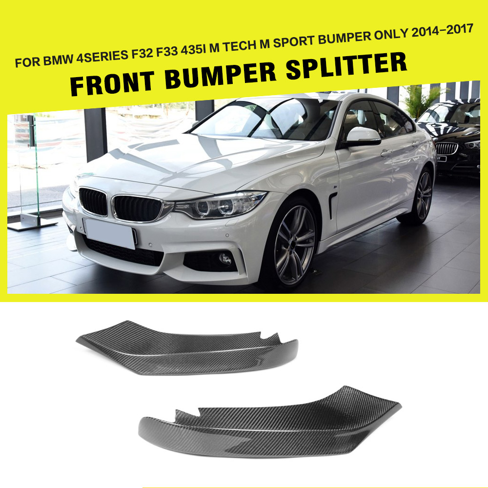 For BMW 4 Series F32 F33 435i M Sport Front Bumper Lip Splitters Flaps Coupe Convertible 2-Door 2014 - 2016 Carbon Fiber / FRP carbon fiber auto front lip splitter flags for bmw 4 series f32 f33 435i m sport coupe